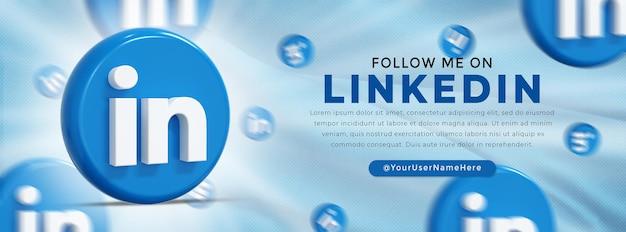 Logo brillant de linkedin et bannière web d'icônes de médias sociaux