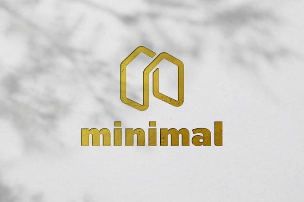 Logo élégant maquette 3d sur mur de surface