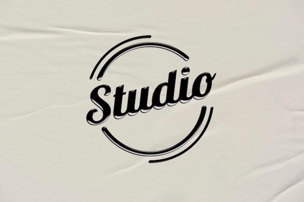 Logo d'entreprise noir modifiable psd dans un style en relief