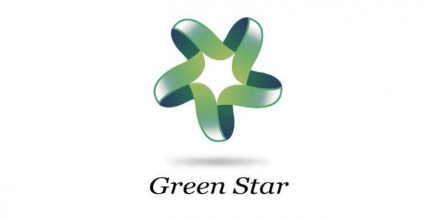 Logo étoiles design de couleur verte