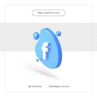 Logo facebook réaliste de rendu 3d
