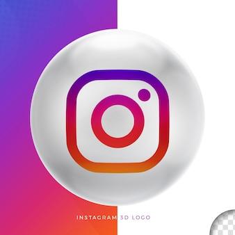 Logo instagram sur la conception 3d ellipse