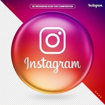 Logo instagram couleur ellipse 3d