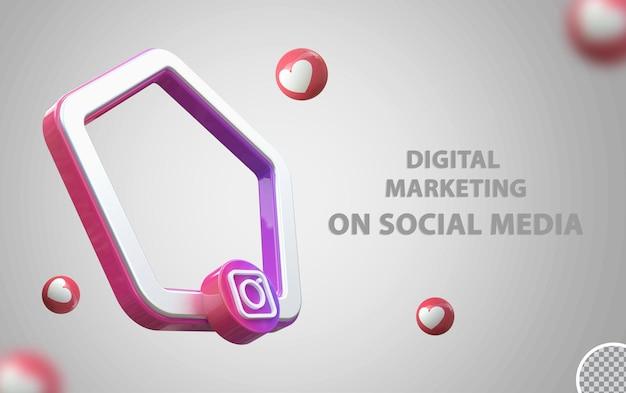 Logo instagram avec maquette de cadre 3d