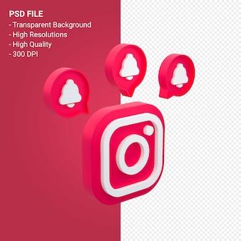 Logo instagram en rendu 3d isolé