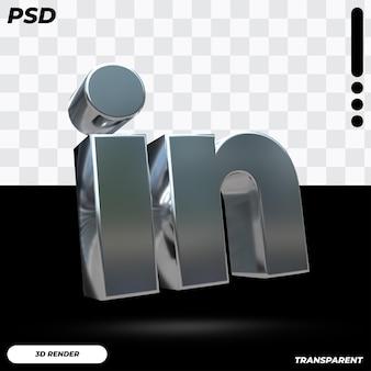 Logo linkedin 3d avec couleur métallique