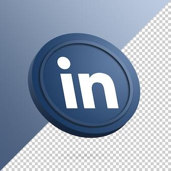 Logo linkedin sur le bouton rond rendu 3d isolé