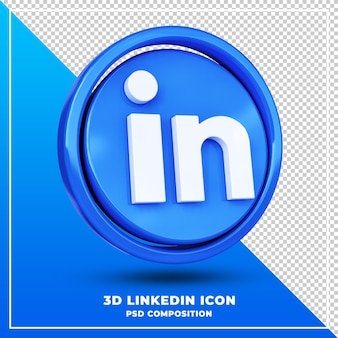 Logo linkedin brillant rendu de conception 3d isolé