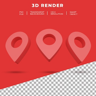 Logo de localisation de carte de rendu 3d isolé