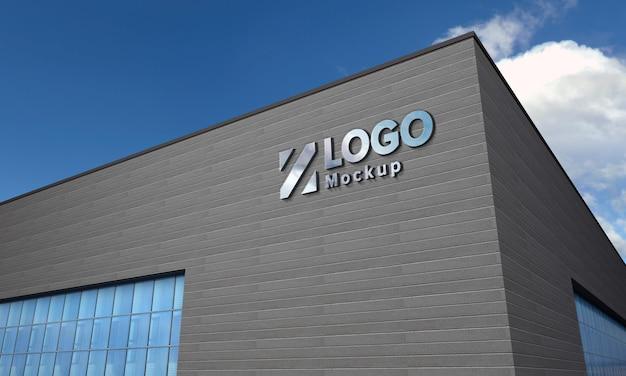 Logo maquette 3d signe bâtiment noir rendu 3d