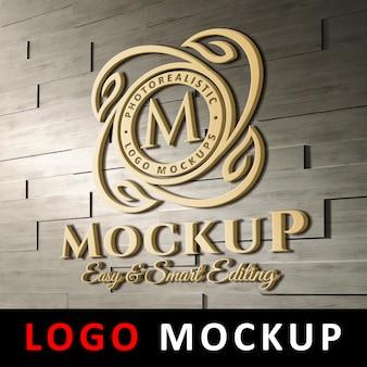 Logo maquette - logo 3d en or sur le mur de briques