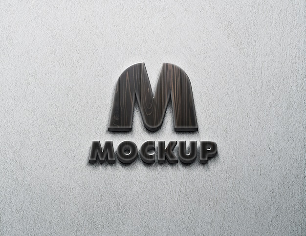 Logo de maquette sur le mur avec du bois texturé