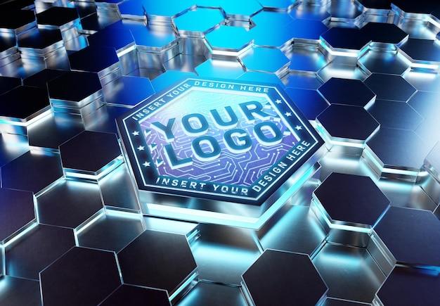 Logo sur la maquette de piédestal hexagonal futuriste