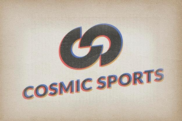 Logo maquette rétro psd, conception réaliste en papier
