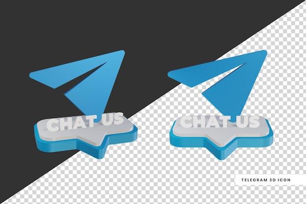 Logo de médias sociaux de télégramme de chat de style 3d