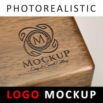 Logo mock up - coffret en bois gravé au laser avec logo gravé