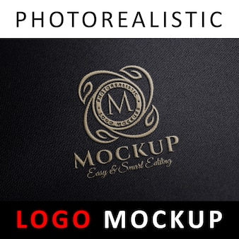 Logo mock up - logo brodé en tissu brodé