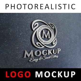Logo mock-up - signalisation du logo 3d sur le mur du bureau