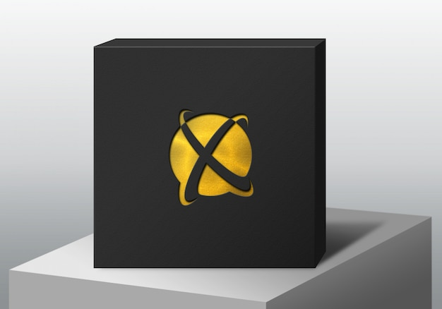 Logo mockup black box luxury glitter gold