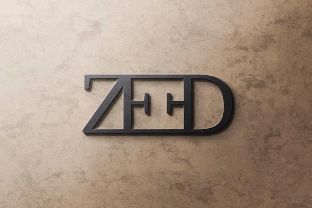 Logo mockup luxury noir sur granit jaune