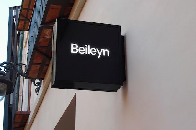 Logo mockup modern black hang sign