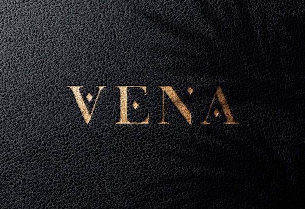 Logo mockup ob cuir noir