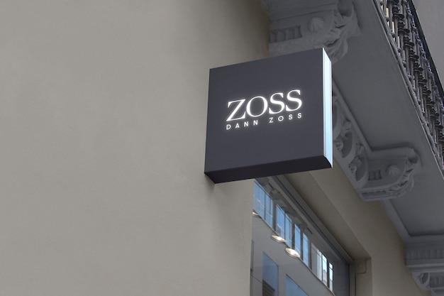 Logo mockup panneau suspendu gris foncé