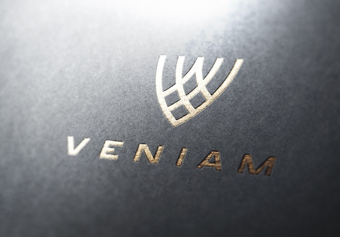 Logo mockup perspective gold
