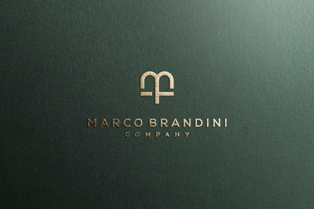 Logo mockup textured luxury gold