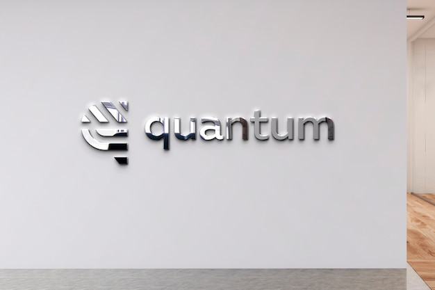 Logo mockup wall office hall