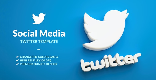 Logo d'oiseau twitter isolé sur fond bleu pour le modèle de marketing de réseau social en rendu 3d