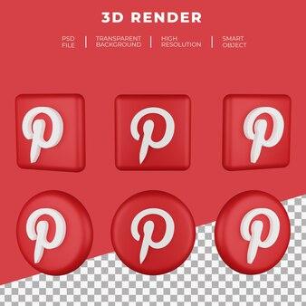 Logo pinterest rendu 3d isolé