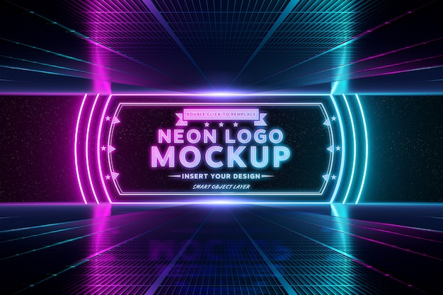 Logo réfléchissant au néon rose et bleu