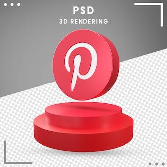 Logo de rotation 3d rouge pinterest isolé