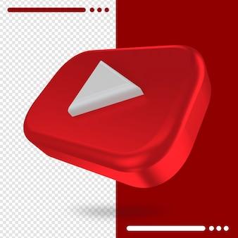 Logo de rotation 3d de youtube dans le rendu 3d