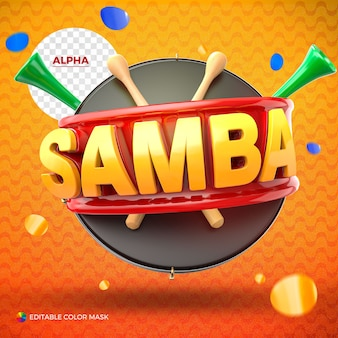 Logo de samba rendu pour la composition isolée avec des baguettes en bois et vuvuzela