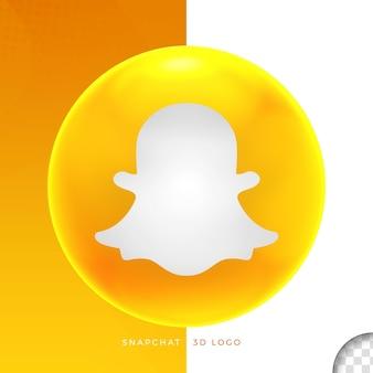 Logo snapchat sur la conception 3d de l'ellipse