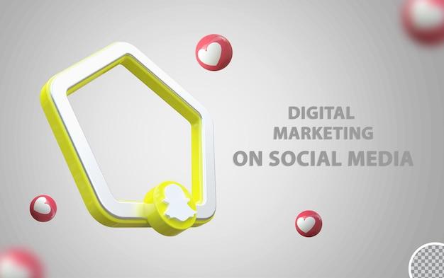 Logo snapchat avec maquette de cadre 3d