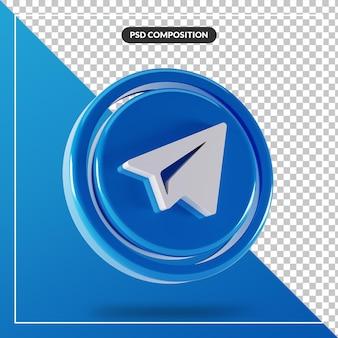 Logo De Télégramme Brillant Isolé Conception 3d PSD Premium