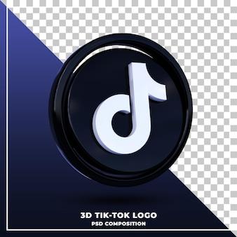 Logo tik tok brillant rendu de conception 3d isolé