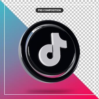 Logo tiktok brillant design 3d isolé