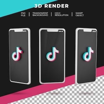 Logo tiktok de rendu 3d du smartphone isolé