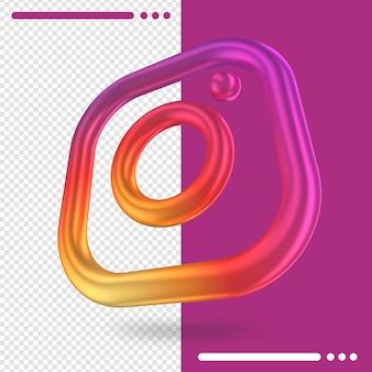 Logo tourné en 3d d'instagram en rendu 3d
