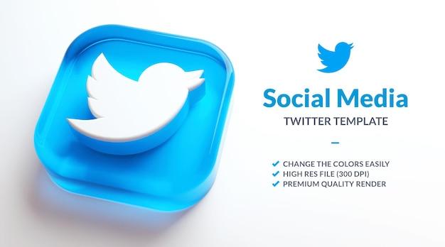 Logo transparent twitter isolé sur fond blanc pour le modèle de marketing des médias sociaux en rendu 3d