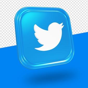 Logo twitter isolé rendu 3d