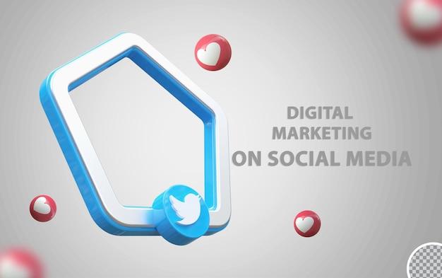 Logo twitter avec maquette de cadre 3d