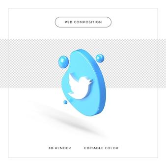 Logo twitter réaliste de rendu 3d