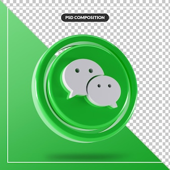 Logo Wechat Brillant Isolé Conception 3d PSD Premium