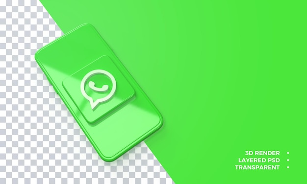 Logo whatsapp 3d au-dessus du rendu de smartphone