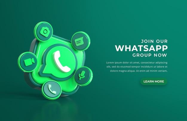 Logo whatsapp 3d avec des icônes de chat